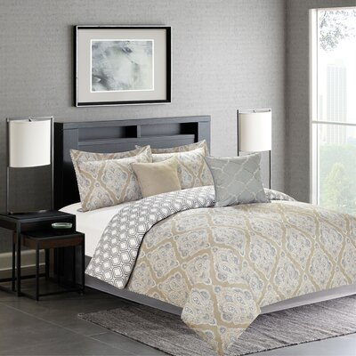 Fanetta 5 Piece Reversible Comforter Set Color: Natural, Size: Queen