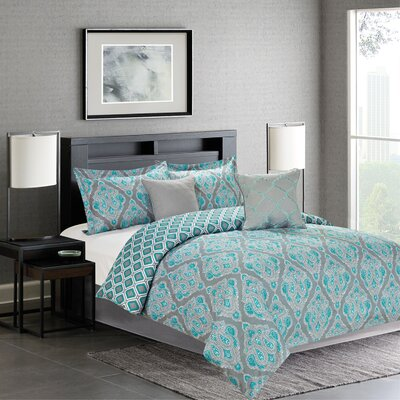 Fanetta 5 Piece Reversible Comforter Set Size: King, Color: Teal