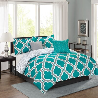 Chanell 5 Piece Reversible Comforter Set Size: King, Color: Teal