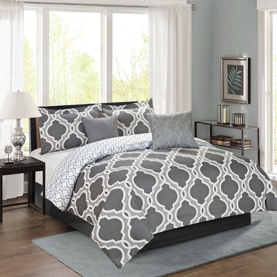 Chanell 5 Piece Reversible Comforter Set Color: Gray, Size: King