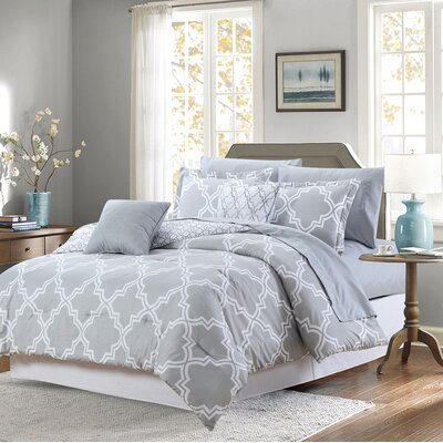 Aryanna 9 Piece Reversible Bed-In-a-Bag Set Color: Gray, Size: King