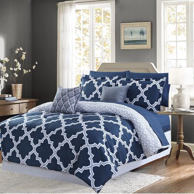 Aryanna 9 Piece Reversible Bed-In-a-Bag Set Size: King, Color: Navy