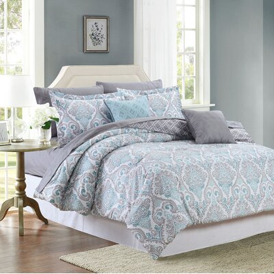 Fanette 9 Piece Reversible Bed-In-a-Bag Set Color: Mineral, Size: Queen