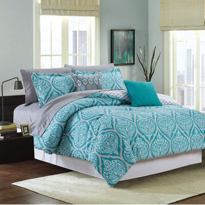 Fanette 9 Piece Reversible Bed-In-a-Bag Set Size: King, Color: Teal