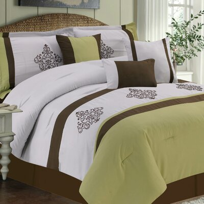 Cameo 7 Piece Comforter Set Color: Sage, Size: King