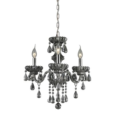 Cotswold 3-Light Crystal Chandelier Glass Finish: Smoke Plated