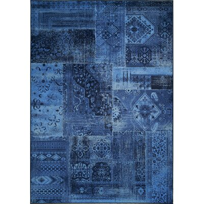 Lunceford Navy Brilliant Patchwork Area Rug