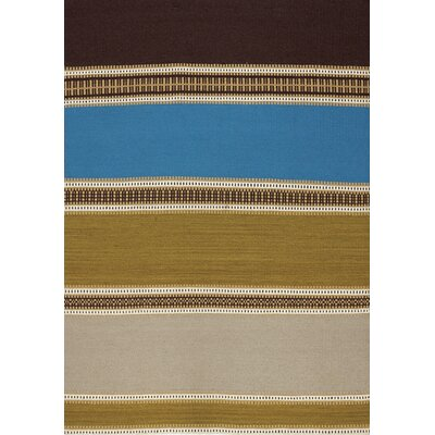 Lysander Brown/Blue Area Rug Rug Size: 67 x 96