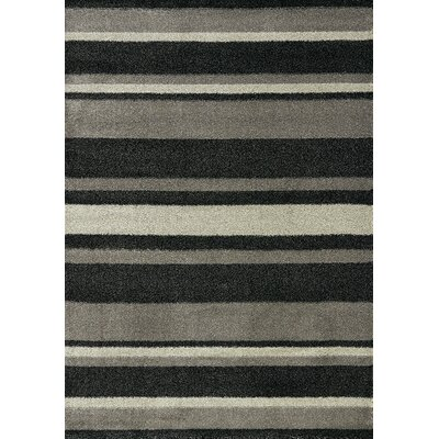 Garley Black/Gray Stripes Area Rug Rug Size: 53 x 77