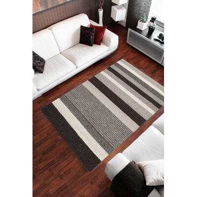 Sundy Black Stripes Area Rug Rug Size: 53 x 77