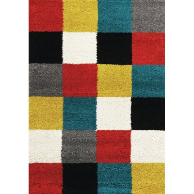 Delgadillo Neon Checkers Area Rug