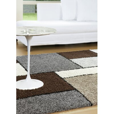 Channel Blocks II Frieze Gray/Beige Area Rug Rug Size: 53 x 77