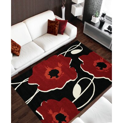 Lyme Black/Red Area Rug Rug Size: 2 x 37