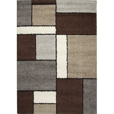 Channel Blocks II Frieze Gray/Beige Area Rug Rug Size: 6'7