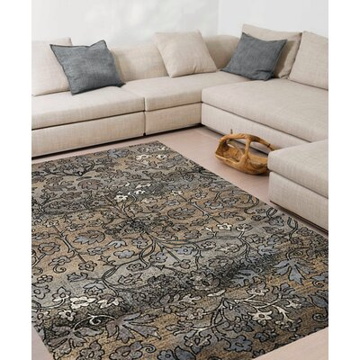 Lunceford Intricate Flowers Taupe Area Rug Rug Size: 57 x 710