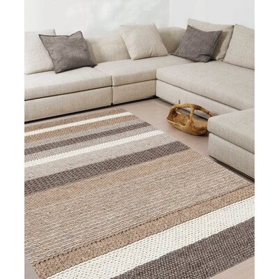 Sundy Beige Stripes Area Rug Rug Size: 53 x 77