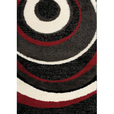 Ceto Red/Charcoal Area Rug Rug Size: 5'3