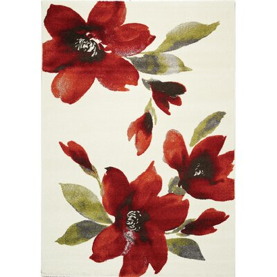 Lyme Cream Flowers I Area Rug Rug Size: 53 x 77