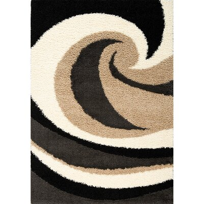 Coleraine Wave Black/Beige Area Rug Rug Size: 53 x 77