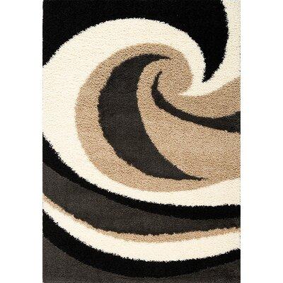 Coleraine Wave Black/Beige Area Rug Rug Size: 2 x 37