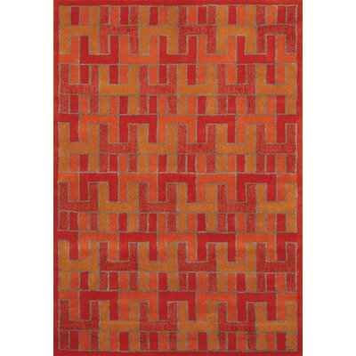 Bundella Orange/Red Area Rug Rug Size: 7'10