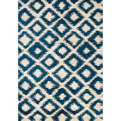 Delgadillo Cream & Blue Diamonds Area Rug Rug Size: 53 x 77