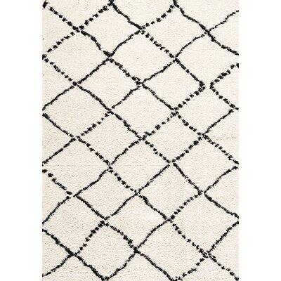 Delgadillo White/Black Area Rug Rug Size: 53 x 77