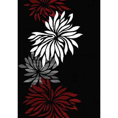 Louisa Black Area Rug Rug Size: 53 x 77