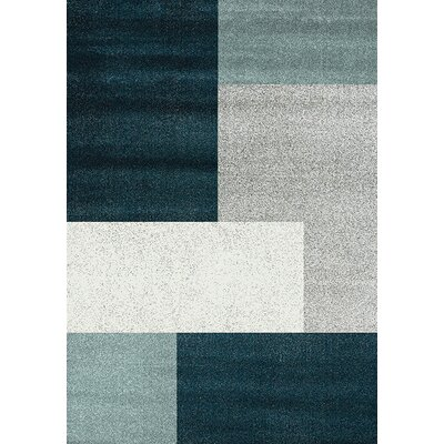 Barcia Teal Patchwork Area Rug Rug Size: 53 x 77
