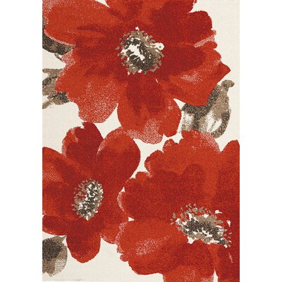 Lyonsdale Red/Cream Area Rug Rug Size: 53 x 77
