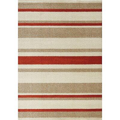 Garley Cream/Beige Stripes Area Rug Rug Size: 710 x 1010
