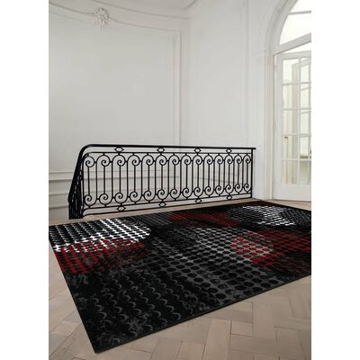 Salem Red/Black Area Rug Rug Size: 27 x 411