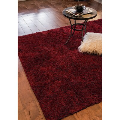 Annmarie Solid Red Shag Area Rug Rug Size: 53 x 77