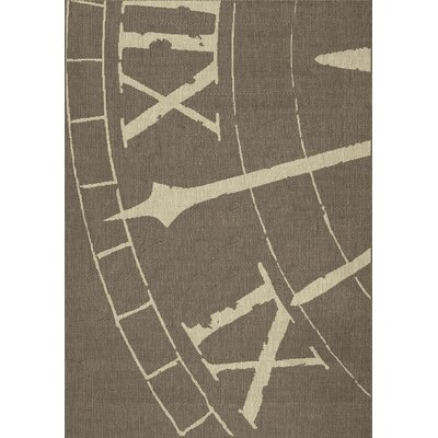 Corbin Clock Hand Flatweave Brown Area Rug Rug Size: 53 x 77