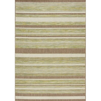 Moises Stripes Flatweave Green/Brown Indoor/Outdoor Area Rug Rug Size: 53 x 77