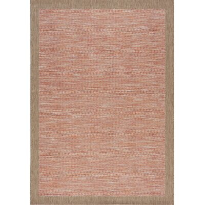 Moises Border Flatweave Red/Brown Indoor/Outdoor Area Rug Rug Size: 53 x 77
