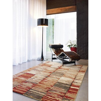 Ballesteros Abstract Stripes Beige/Red Area Rug Rug Size: 2 x 37