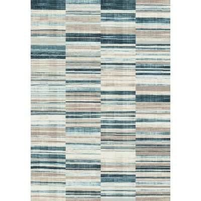 Machias Barcode Floor Cloth Beige/Blue Area Rug Rug Size: 51 x 77