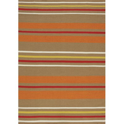 Ashlee Stripes Flatweave Taupe Indoor/Outdoor Area Rug Rug Size: 710 x 106