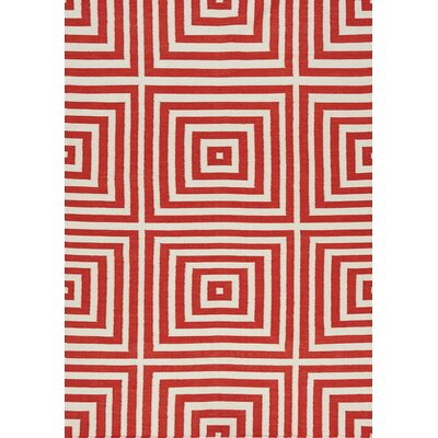 Ashlee Optical Illusion Flatweave White/Red Indoor/Outdoor Area Rug Rug Size: 28 x 411