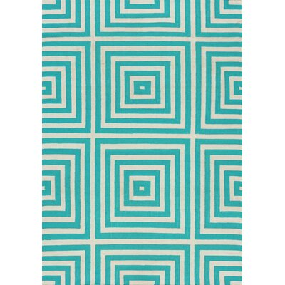 Ashlee Optical Illusion Flatweave White/Blue Indoor/Outdoor Area Rug Rug Size: 710 x 106