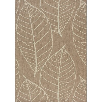 Tayler Fossil Leaves Flatweave Brown/Cream Indoor/Outdoor Area Rug Rug Size: 710 x 1010