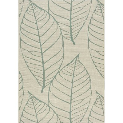 Tayler Fossil Leaves Flatweave Cream Indoor/Outdoor Area Rug Rug Size: 53 x 77
