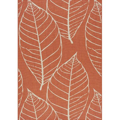 Tayler Fossil Leaves Flatweave Orange & Cream Indoor/Outdoor Area Rug Rug Size: 53 x 77