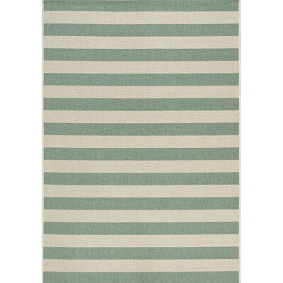 Glenn Stripes Flatweave Cream/Blue Indoor/Outdoor Area Rug Rug Size: 53 x 77