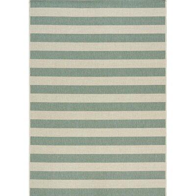 Glenn Stripes Flatweave Cream/Blue Indoor/Outdoor Area Rug Rug Size: 53 x 77