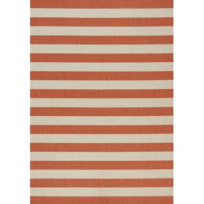 Glenn Stripes Flatweave Cream/Orange Indoor/Outdoor Area Rug Rug Size: 710 x 1010