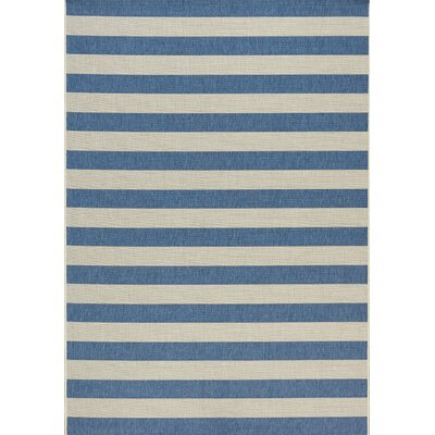 Glenn Stripes Flatweave Cream/Navy Indoor/Outdoor Area Rug Rug Size: 53 x 77