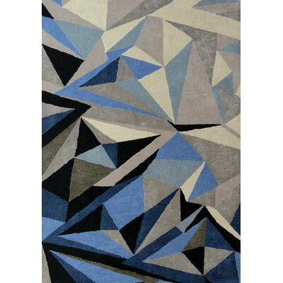 Bundella Triangle Gray/Blue Area Rug Rug Size: 53 x 77