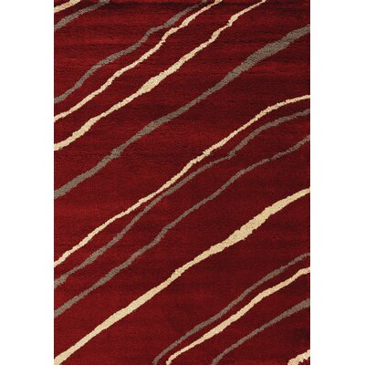 Delgadillo Stripes Soft Touch Red/Cream Area Rug Rug Size: 710 x 1010